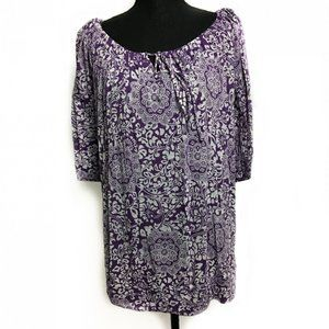 New Directions Woman Patterned Top 2X Purple White